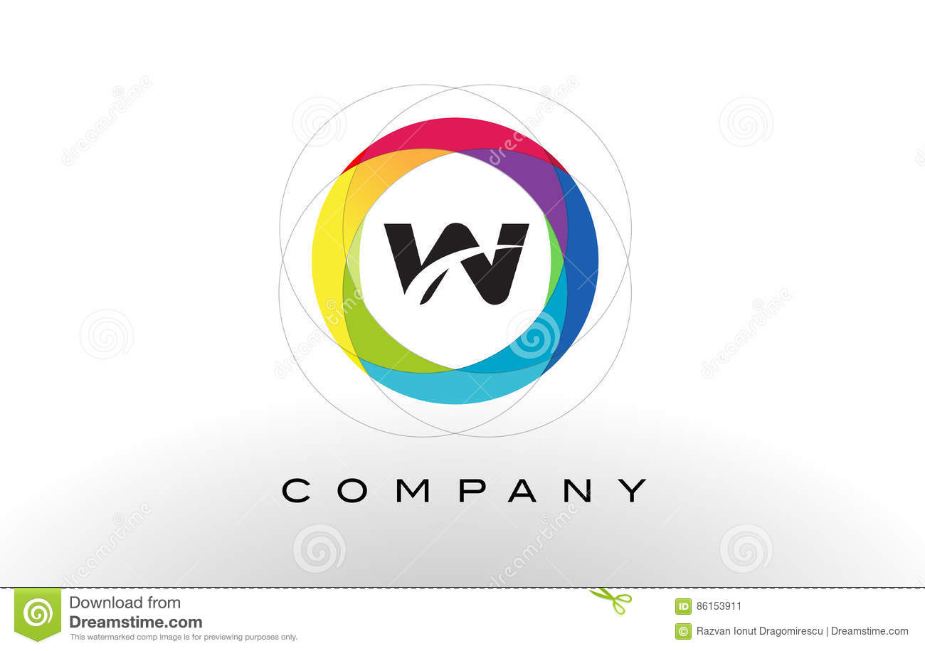 w letter logo with rainbow circle design colorful rounded circular letter design