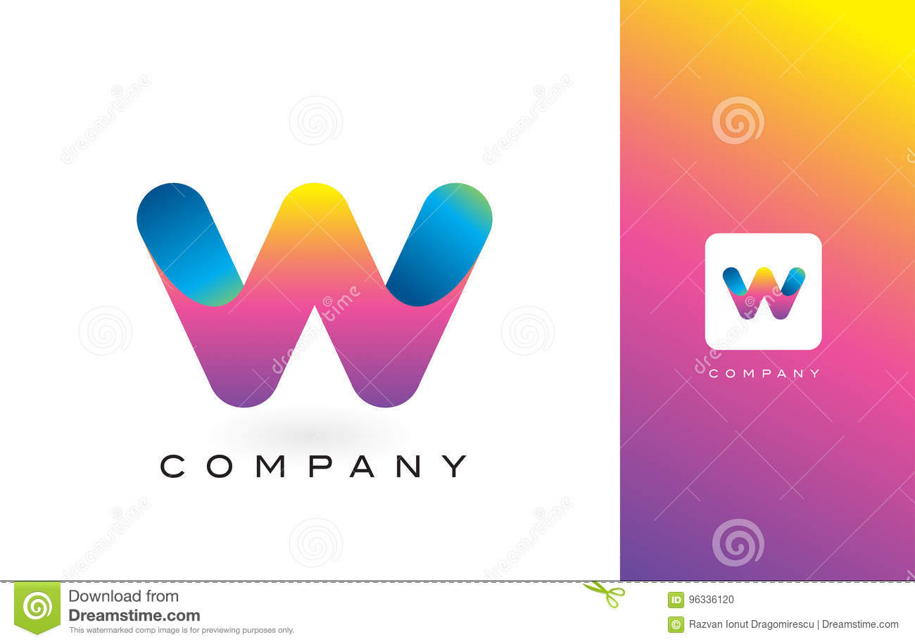 W Logo Letter With Rainbow Vibrant Beautiful Colors.W Colorful T ...