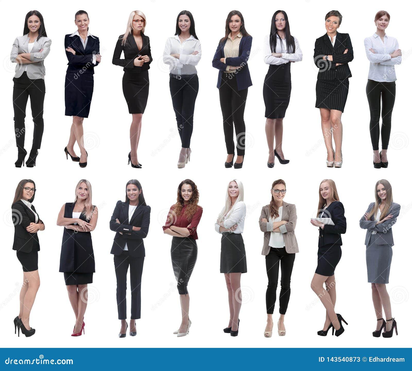 W pełnym przyroscie kolaż grupa pomyślne młode biznesowe kobiety