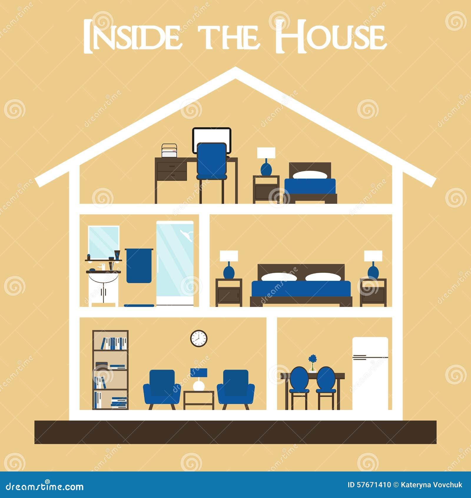 Wśrodku domu Mieszkanie ilustraci domu stylowa wektorowa sylwetka z meble