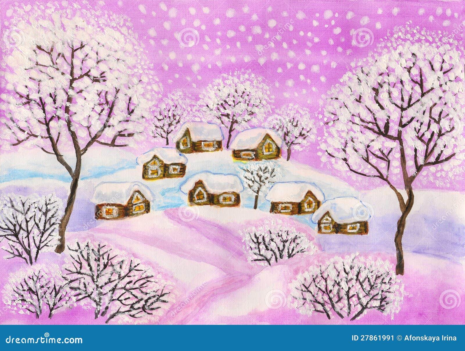 W target744_1_ purpurowych colours zima krajobraz,