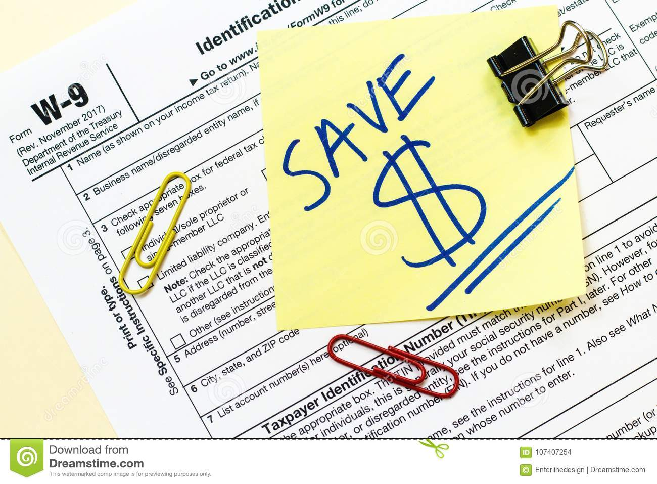 W9 Tax Form Save Money Concept Editorial Stock Image Image Of Plan
