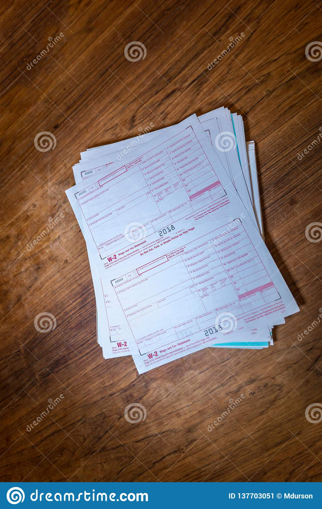 W-2 2018 Tax Forms On A Table Editorial Photo - Image of april