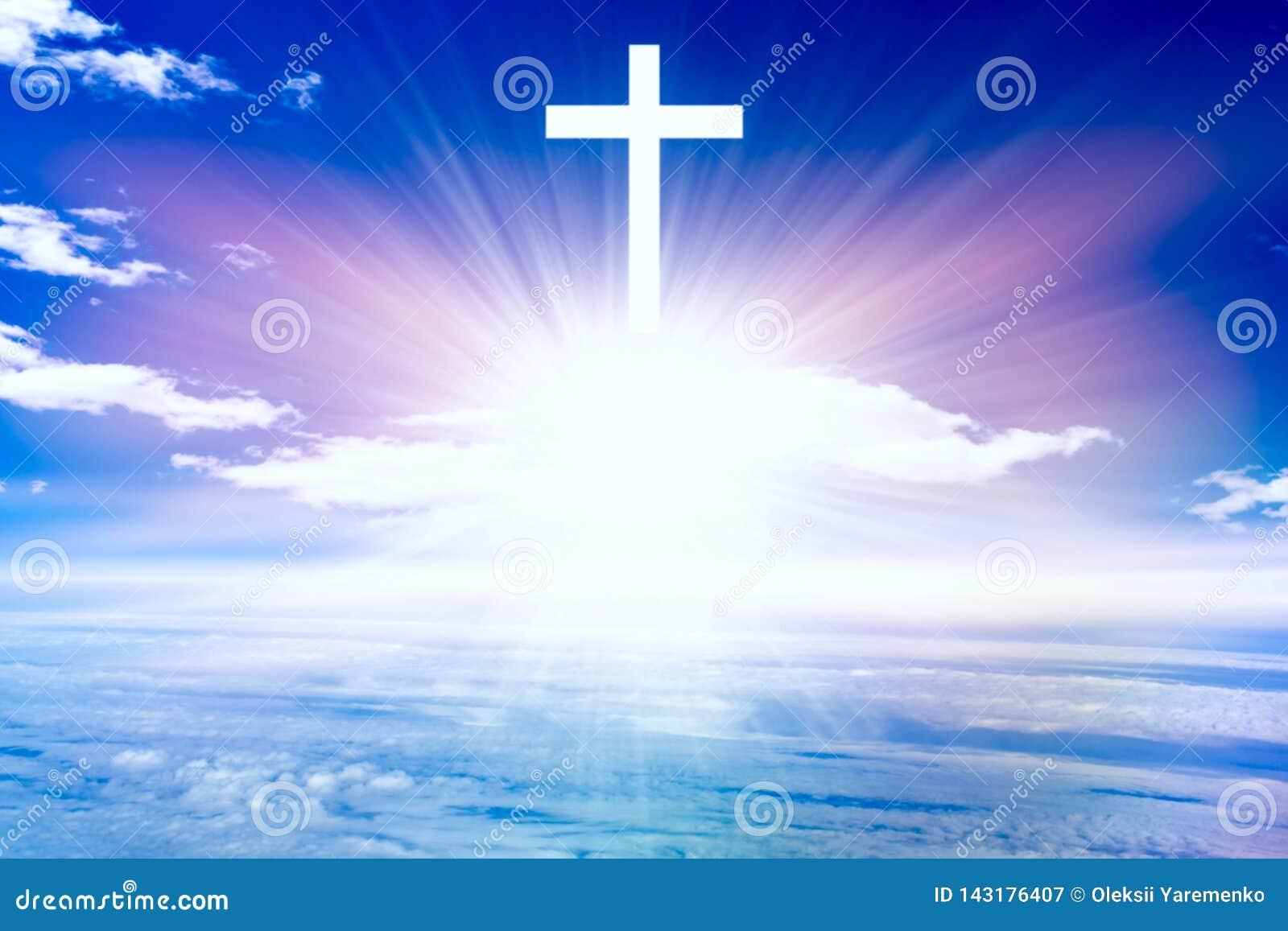 W tle religii niebiańskiej Jezusa Raju niebo Światło w niebie