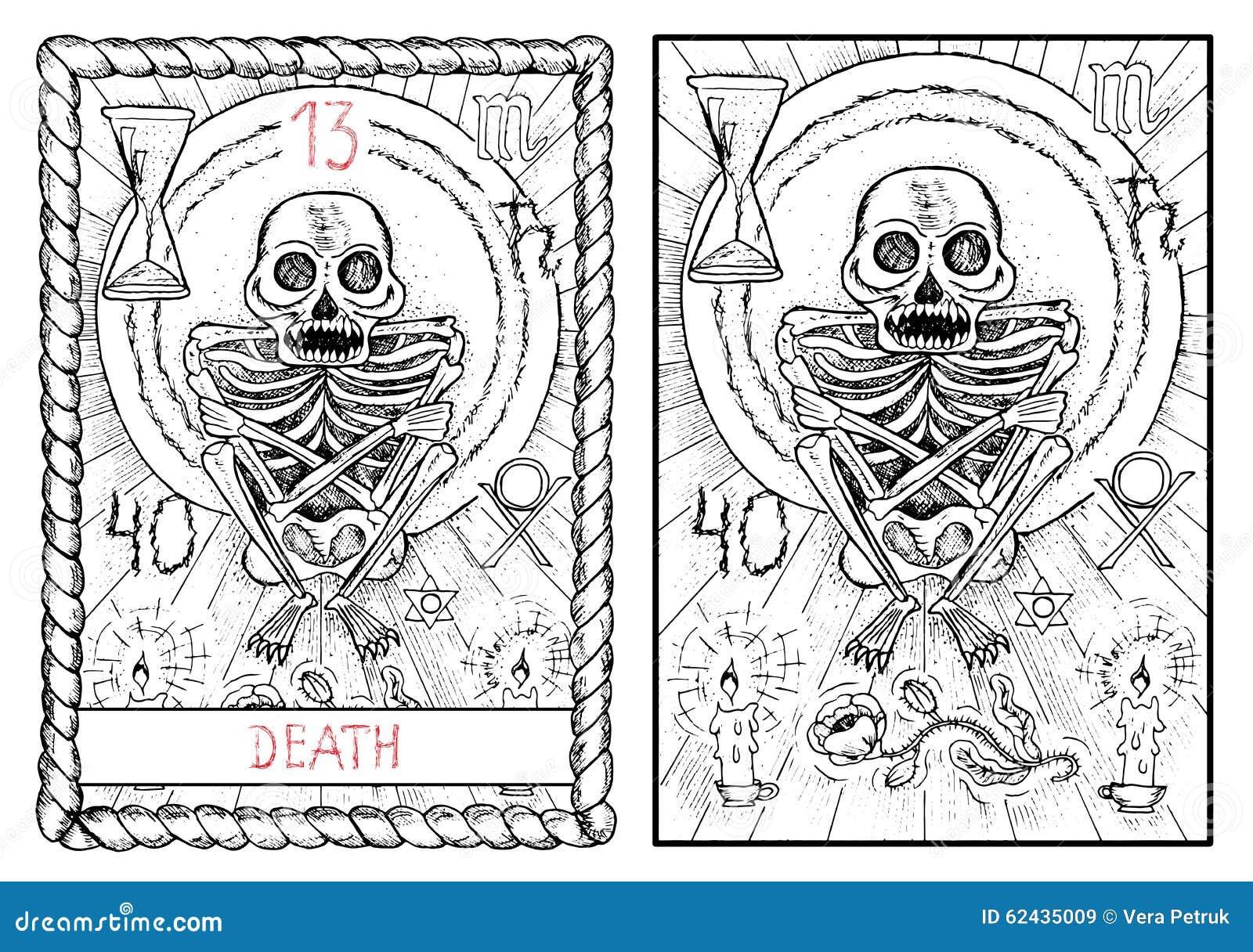 Wazna Arcana Tarot Karta Smierc Ilustracja Wektor Ilustracja