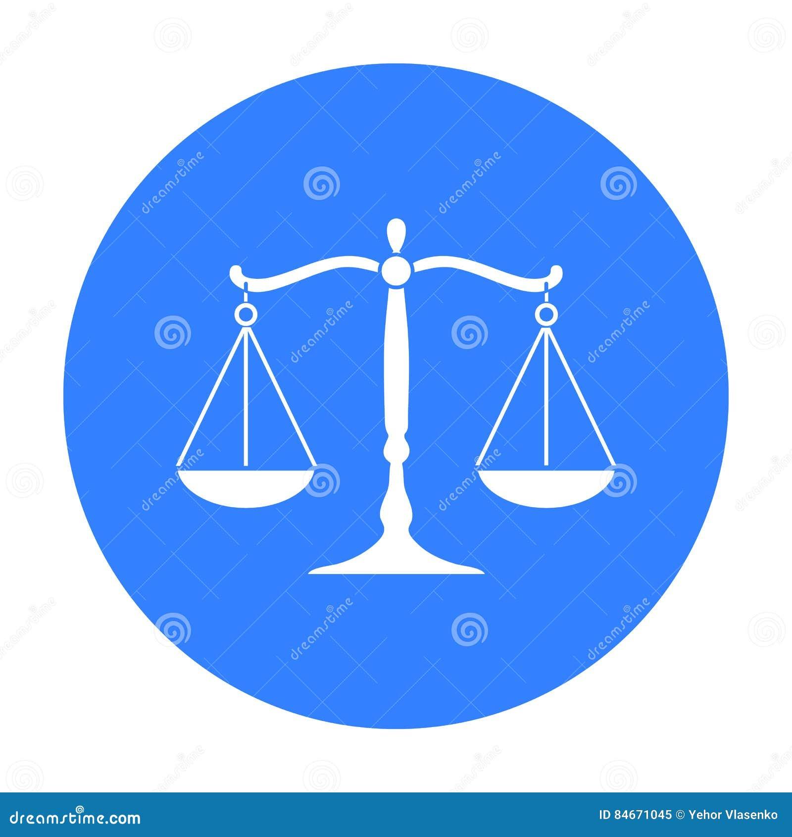 Waży sprawiedliwości ikona w czerń stylu odizolowywającym na białym tle Przestępstwo symbolu zapasu wektoru ilustracja