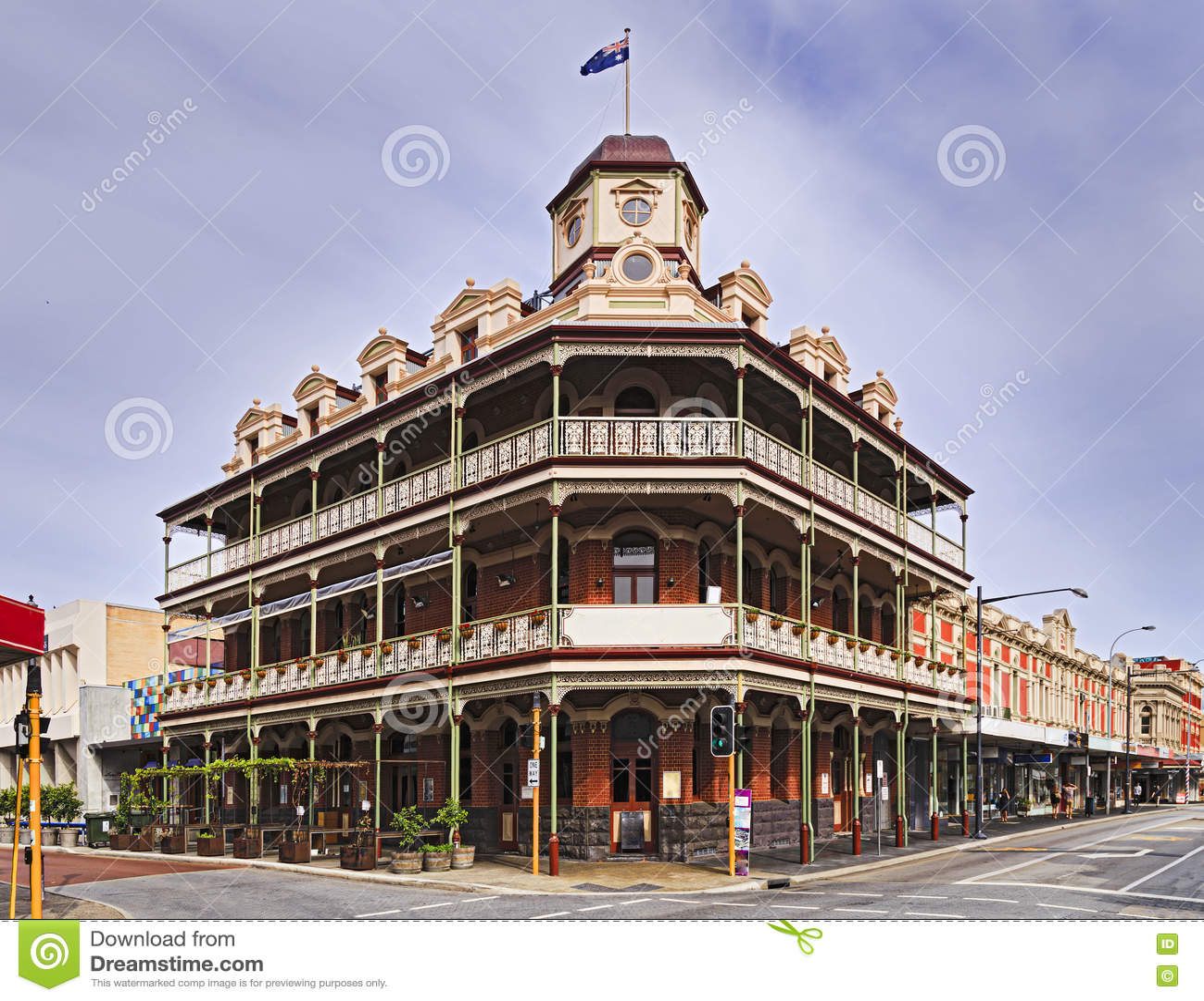 wa fremantle hotel corner editorial photo image of facade. Black Bedroom Furniture Sets. Home Design Ideas