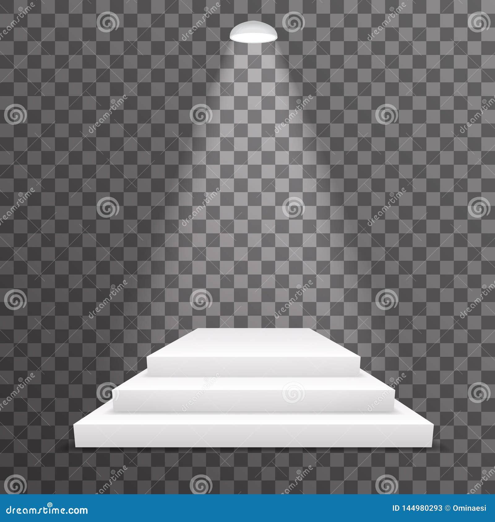 Waagerecht ausgerichtetes beleuchtete erleichterte Szene der Preissockelgewinn-Leistung Podium realistischen Schablonenvektor der
