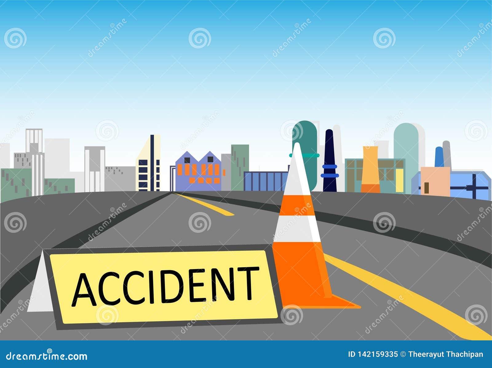 Waarschuwingsbord gevaarlijk op de weg en de kegel