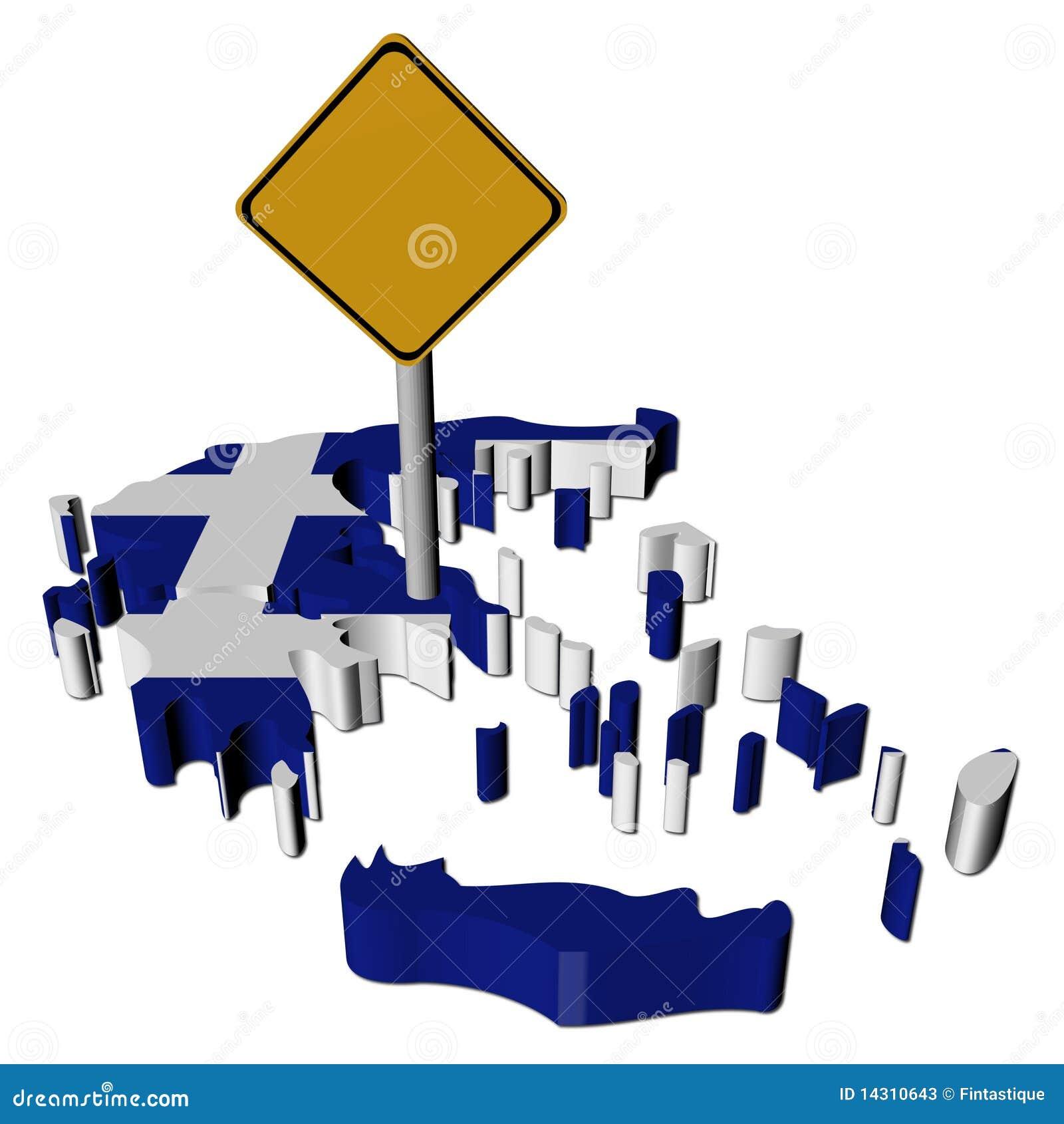 Waarschuwingssein op de kaartvlag van Griekenland
