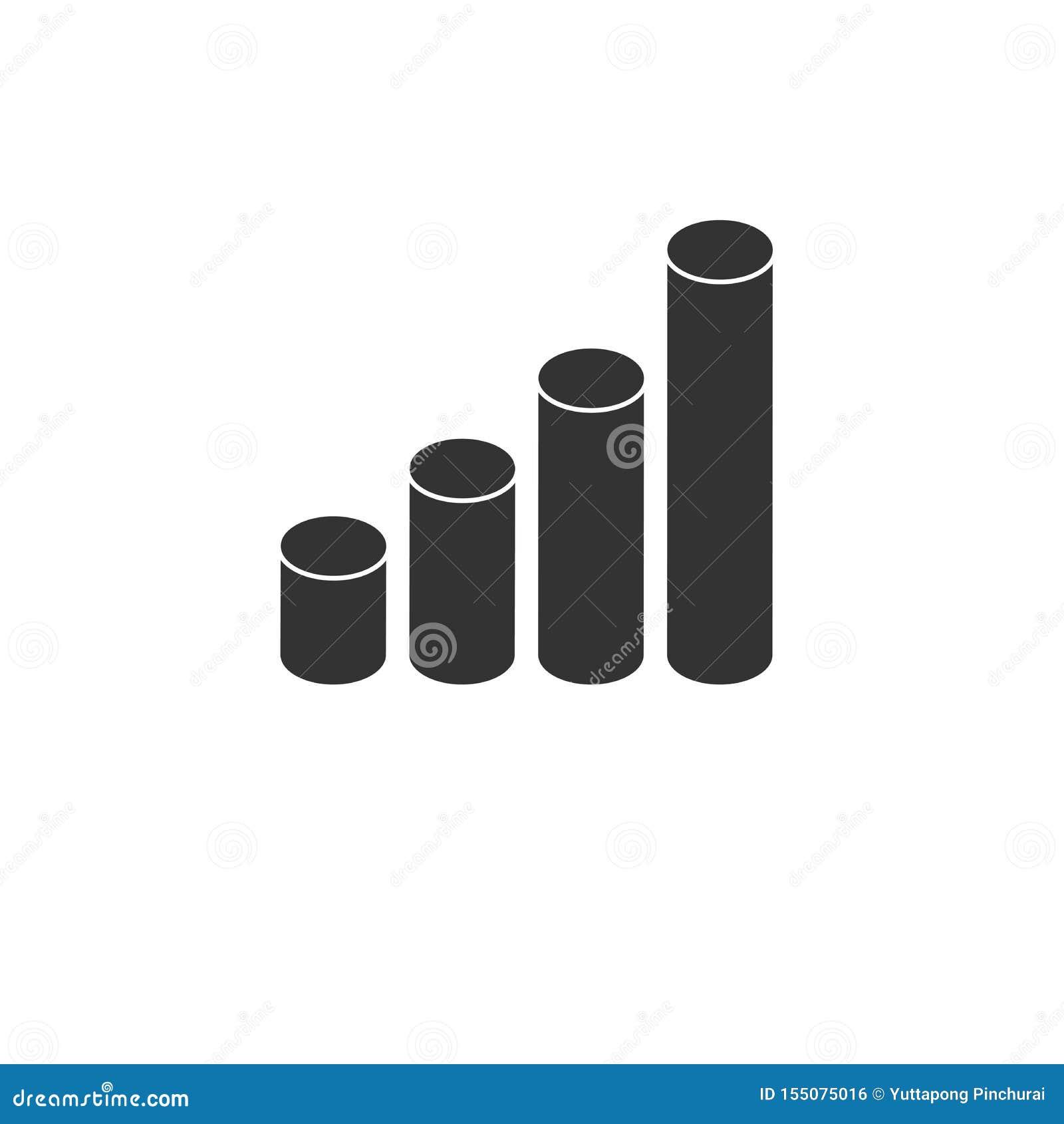 Wachsende Ikone analytisches und Zylinderdiagramm Gesch?ft Auch im corel abgehobenen Betrag graphik Auf wei?em Hintergrund