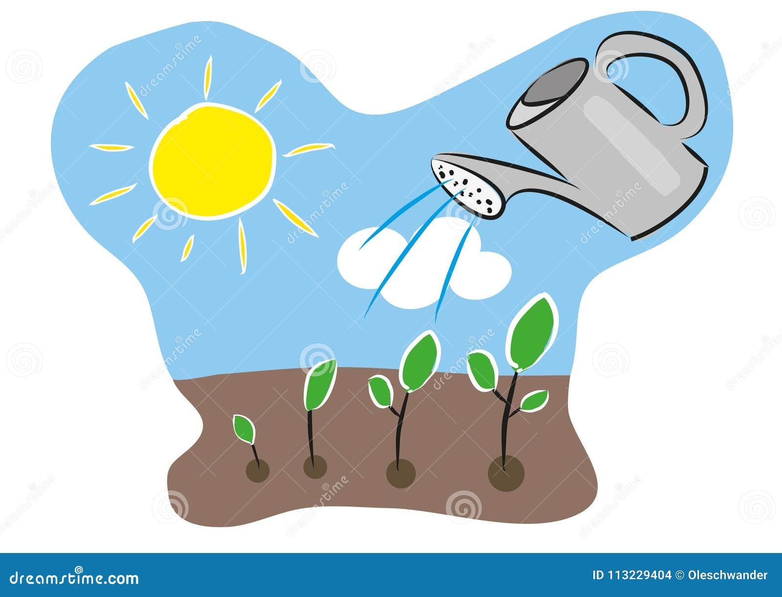 Wachstum Der Betriebszeitachse Mit Wasserkanister Boden Sonne
