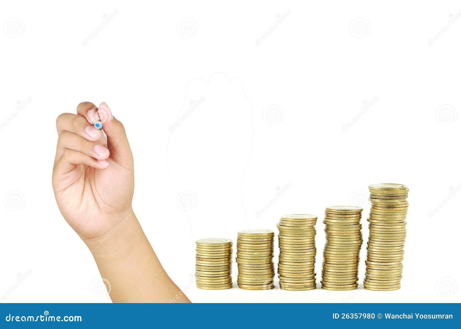 Wachstumkonzept mit Goldmünzen