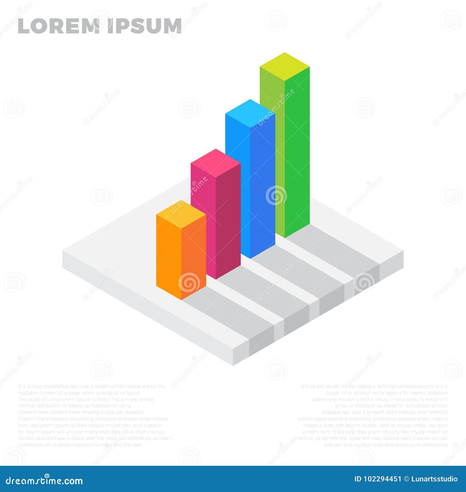 Wachstumsdiagrammdiagramm, Markterfolg, Stange auf Lager herauf isometrische flache Ikone bunte Illustration 3d Piktogramm lokali