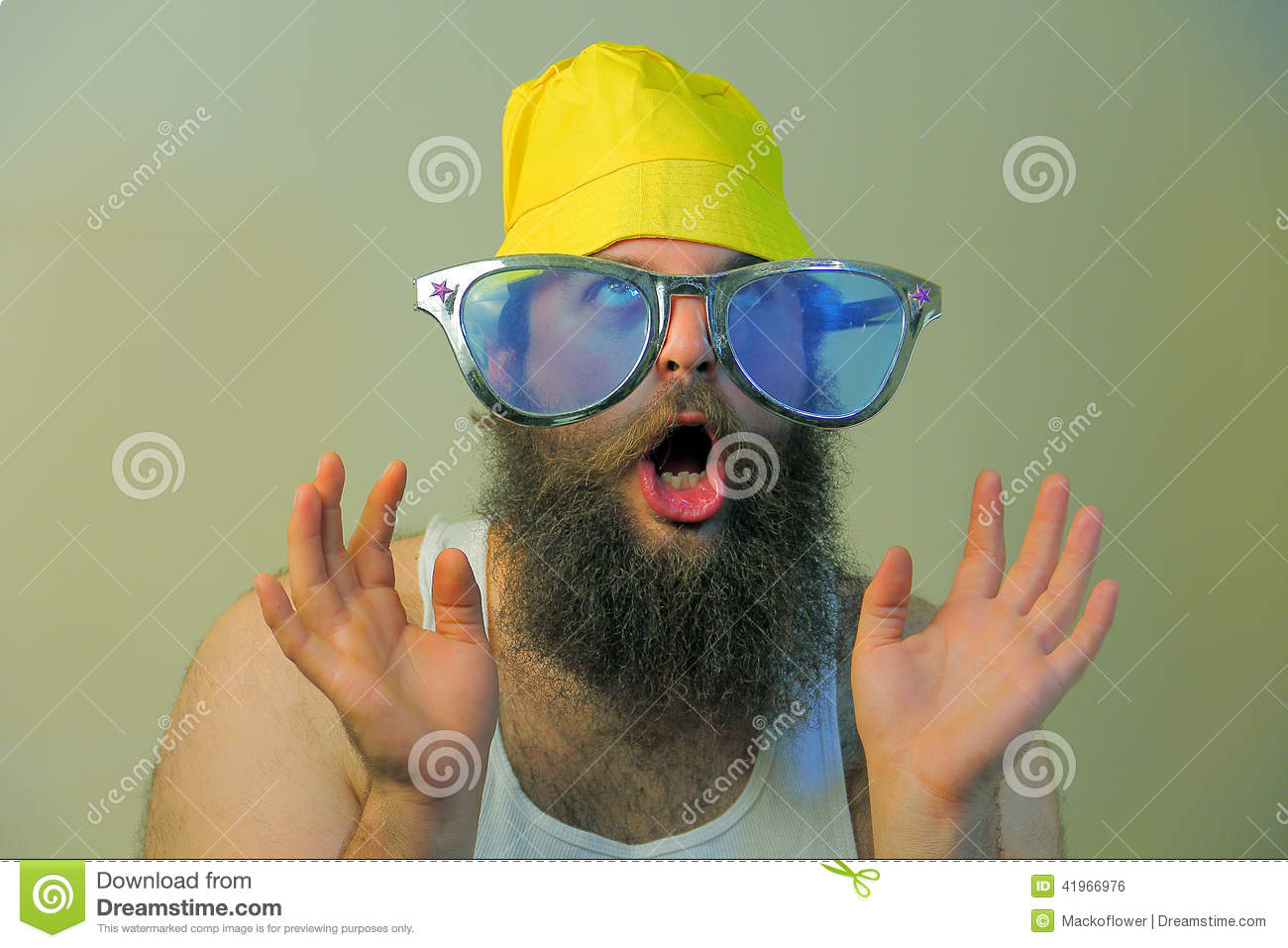 Wacky Excited Bearded Man