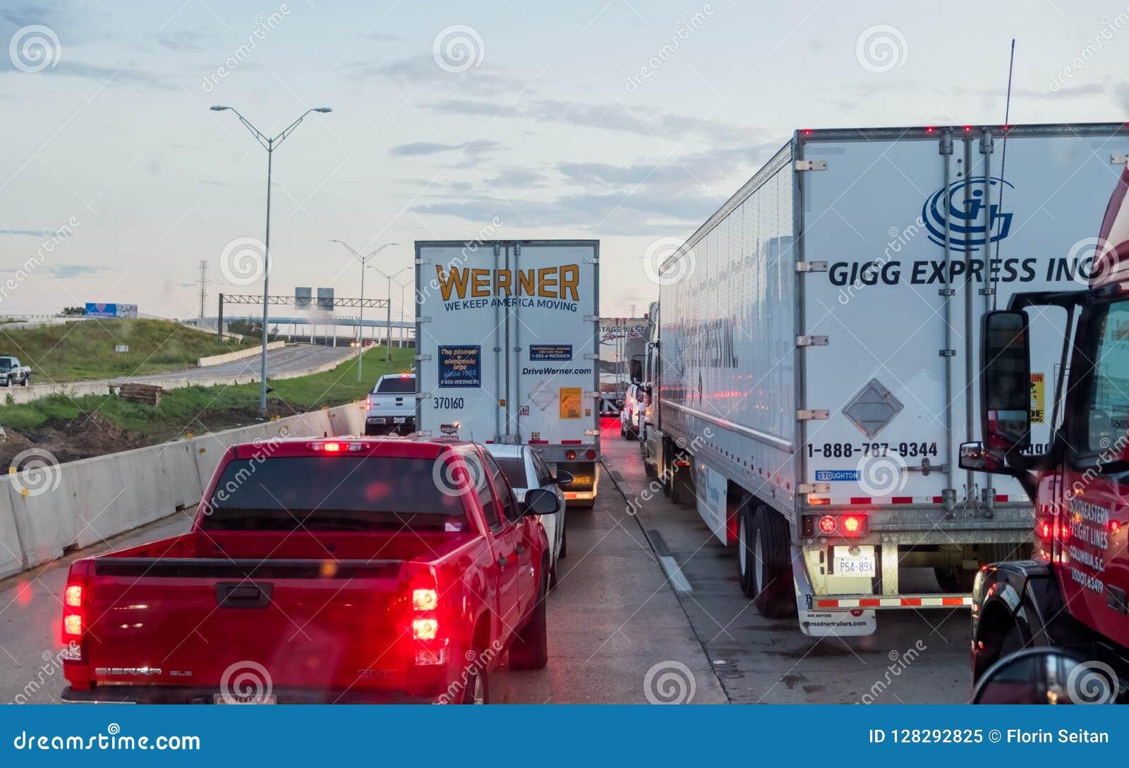 WACO, TEXAS, USA - OCTOBER 1, 2018 - Vehicles Stuck In Heavy