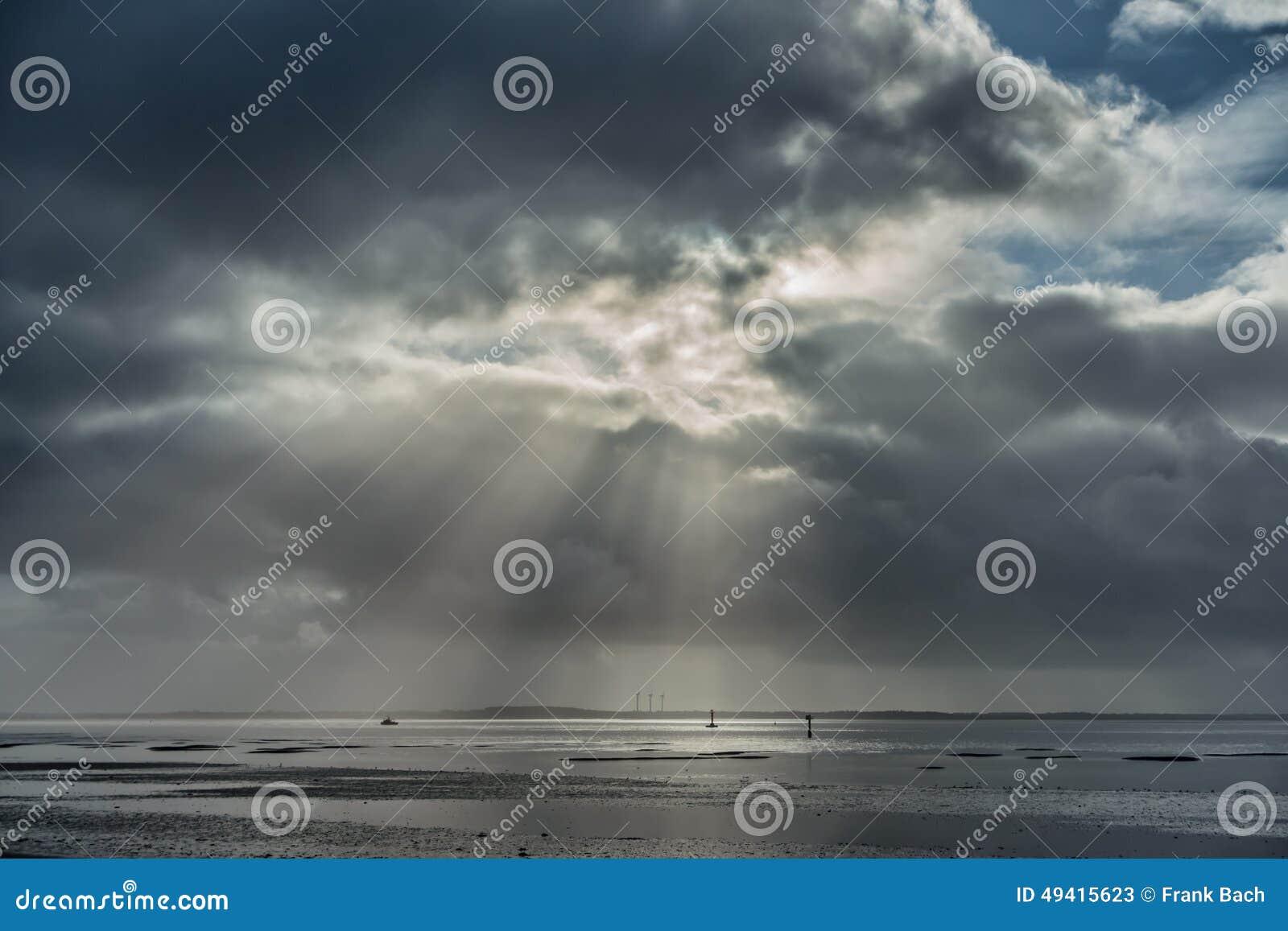 Download Wadden-Meer Nahe Esbjerg, Dänemark Stockbild - Bild von leuchte, meer: 49415623