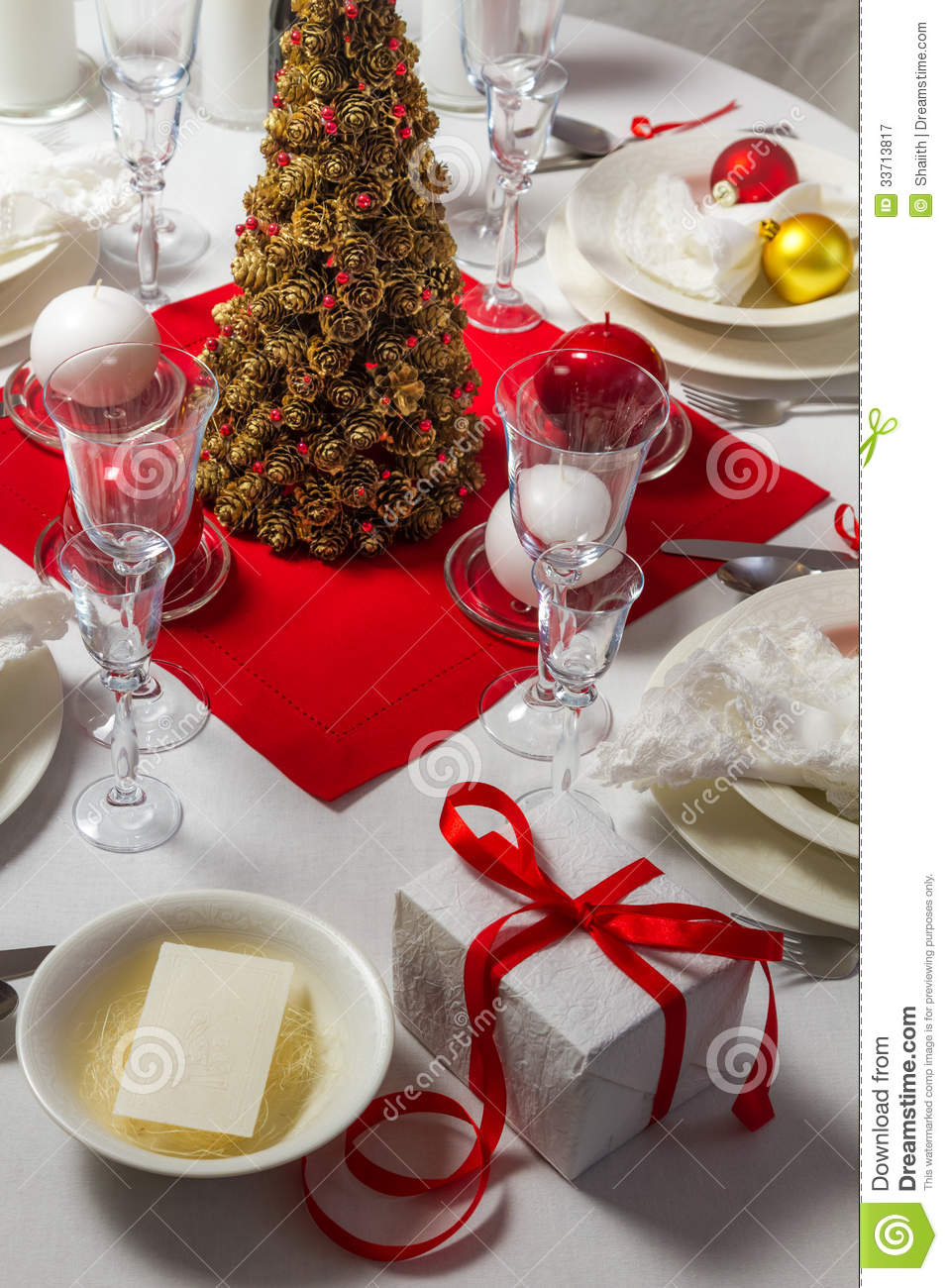 Wafer and gift on christmas table royalty free stock - Table gifts for christmas ...