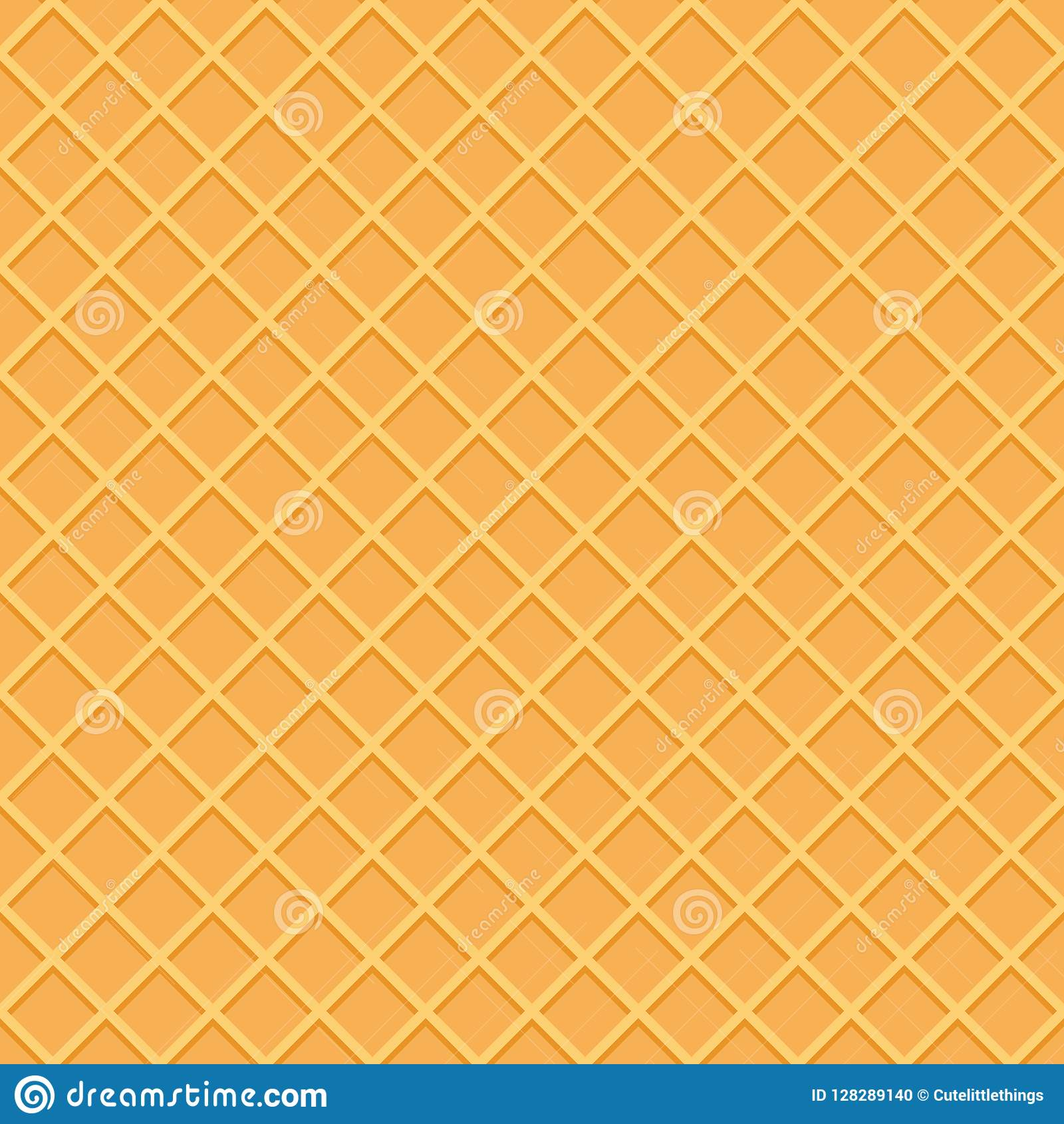 Seamless Ice Cream Background: Wafer Seamless Pattern Background. Ice Cream Cone Surface