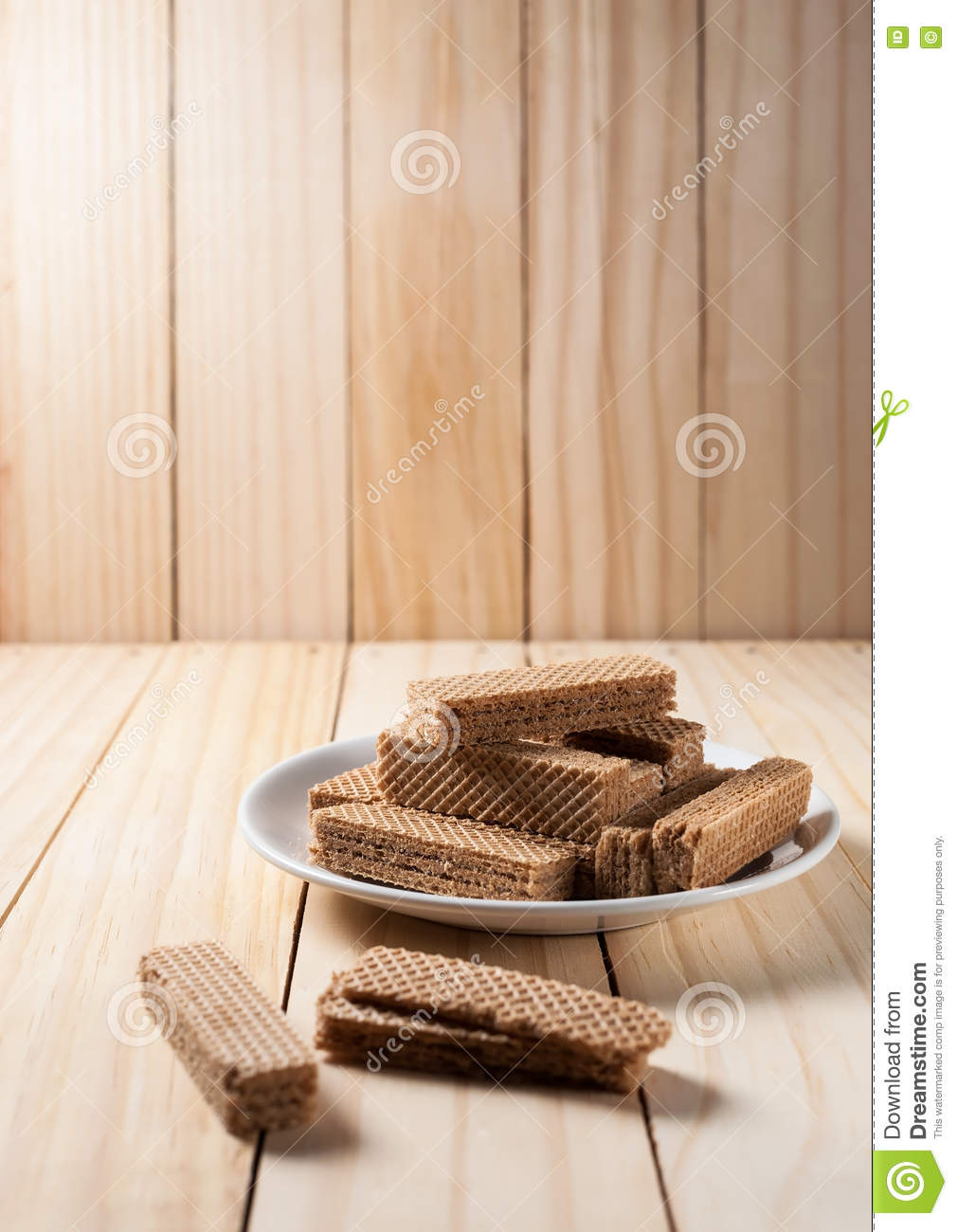 Wafers with chocolate in white plate
