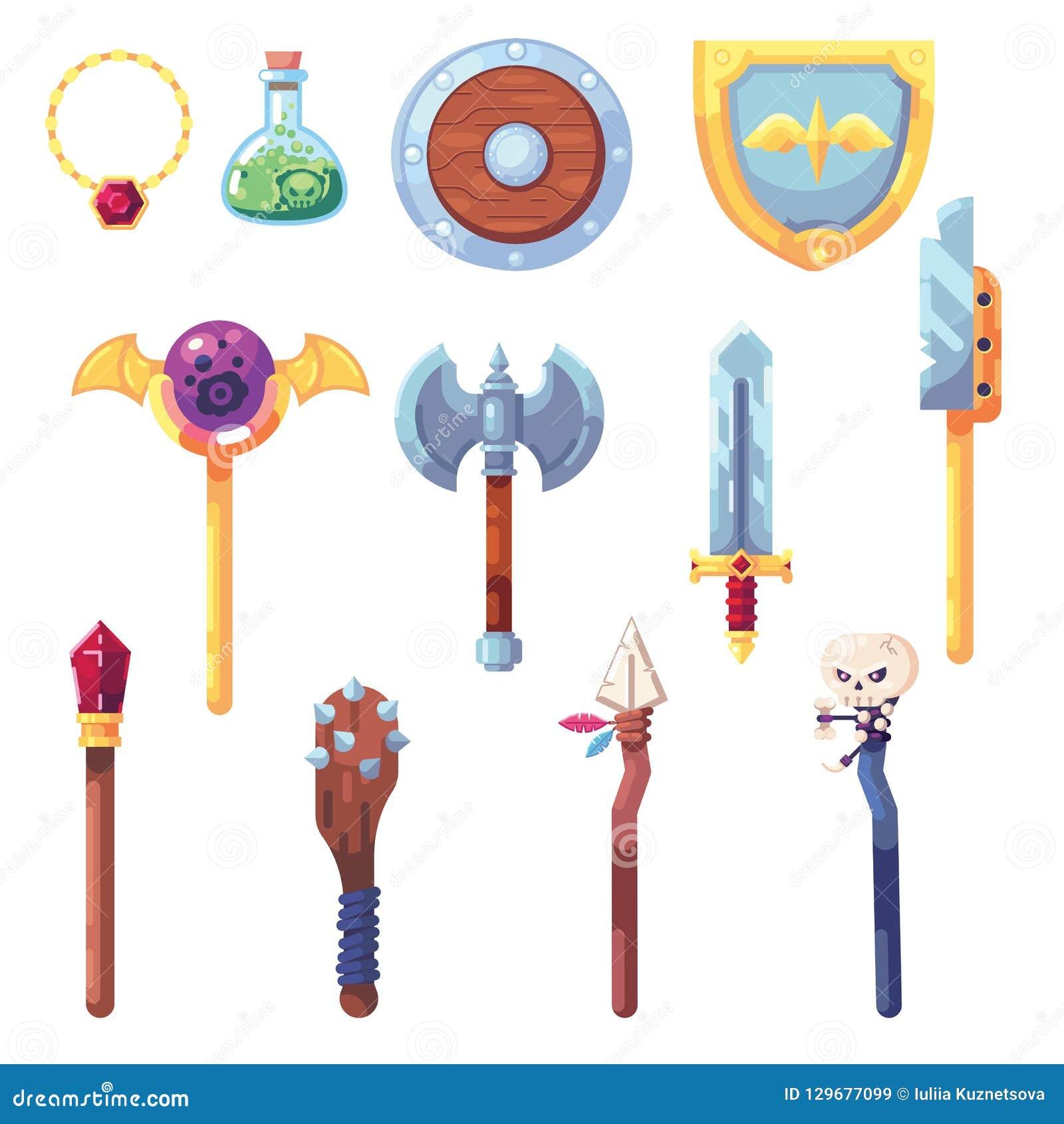 Waffe RPG-Spielsatzausrüstungsbeutebeutenbogenklingenstabspersonalgiftsachenartefakt-Inventarvektor