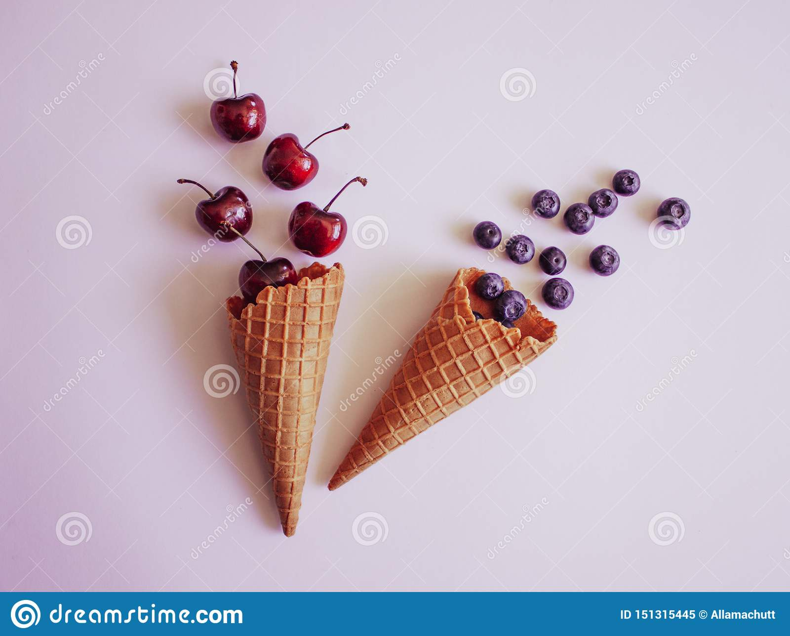 Waffle cones and fruits