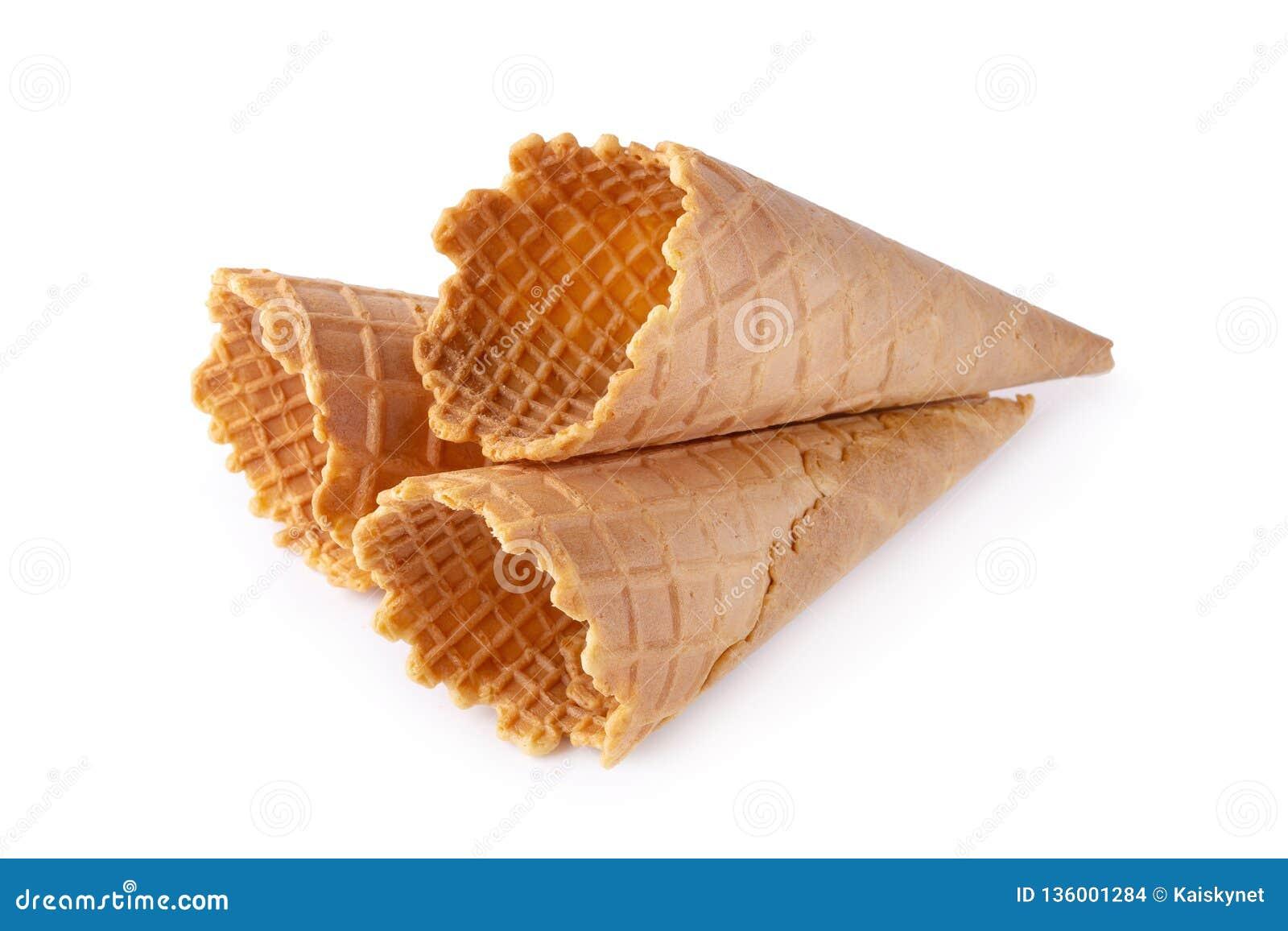 Waffle Ice Cream Cone Isolated Over White Background Stock