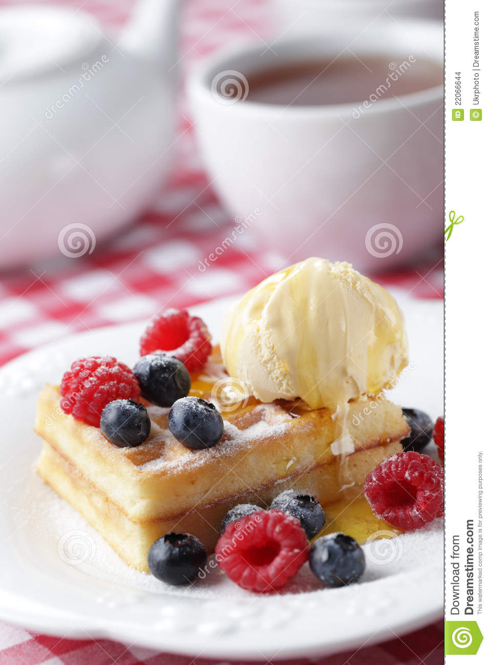 Waffles With Berries And Ice Cream Stock Images - Image: 22066644
