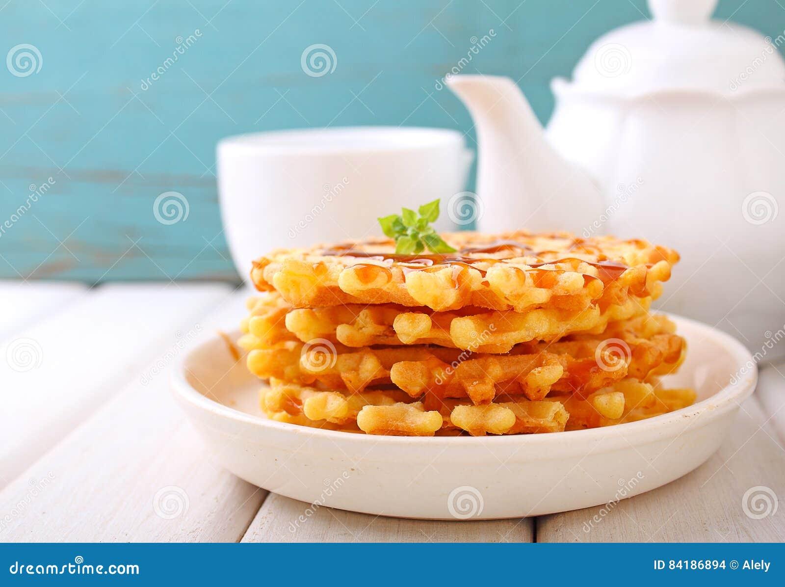 Waffles with caramel sauce