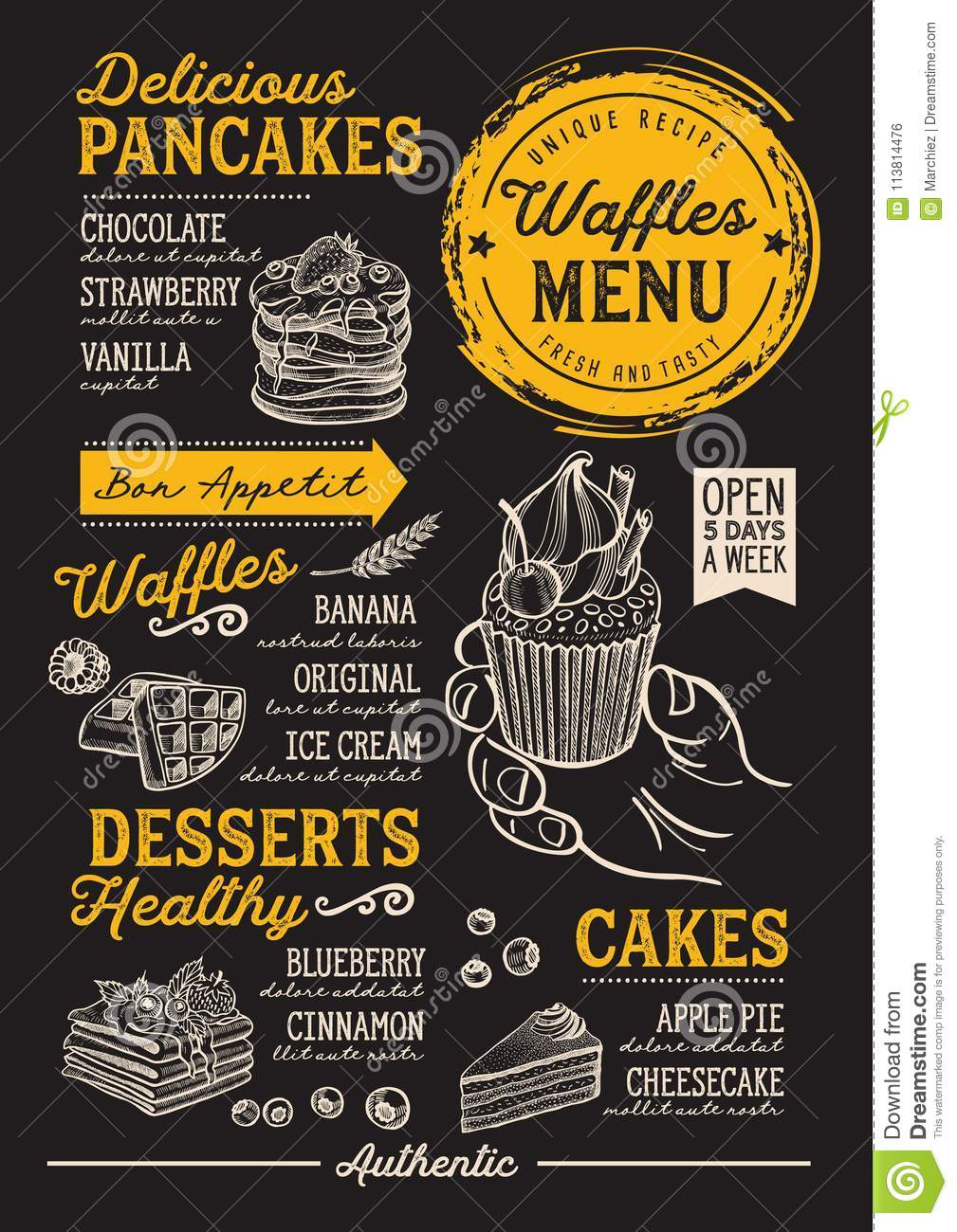waffles and crepes menu restaurant food template stock vector