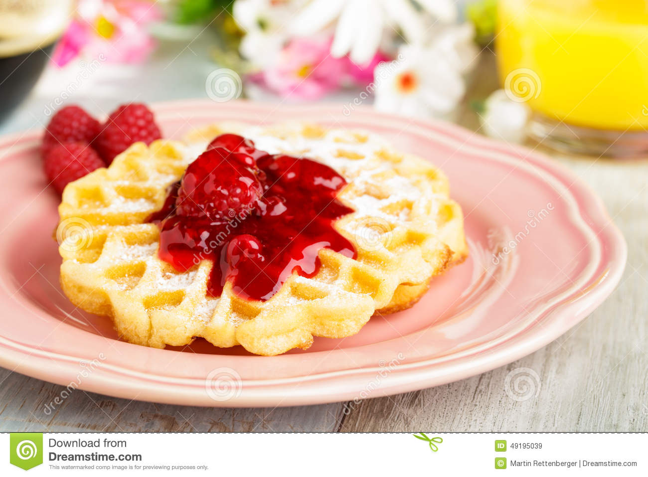 Download Waffles With Red Fruit Jelly Stock Image - Image of breakfast, pile: 49195039