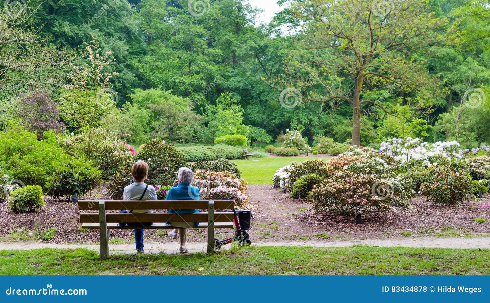 WAGENINGEN NEDERLÄNDERNA - APRIL 30, 2016: Kvinna som två vilar på en bänk