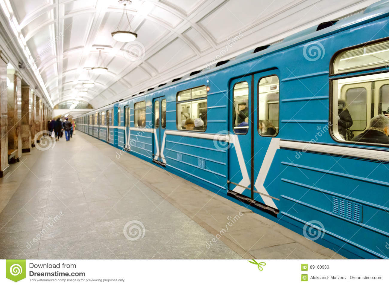 Wagon train on Moscow underground metro station
