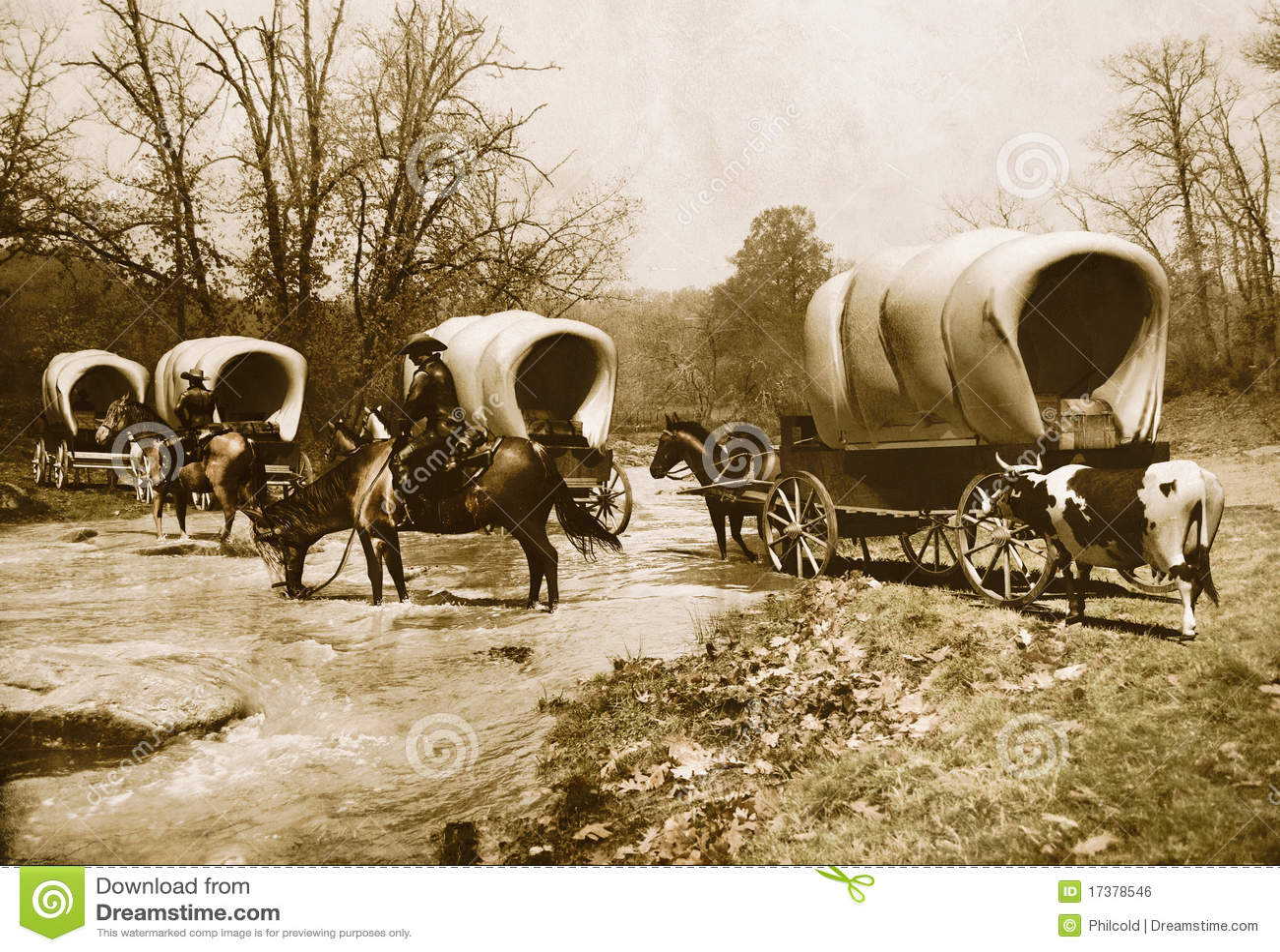 Wagon train old sepia