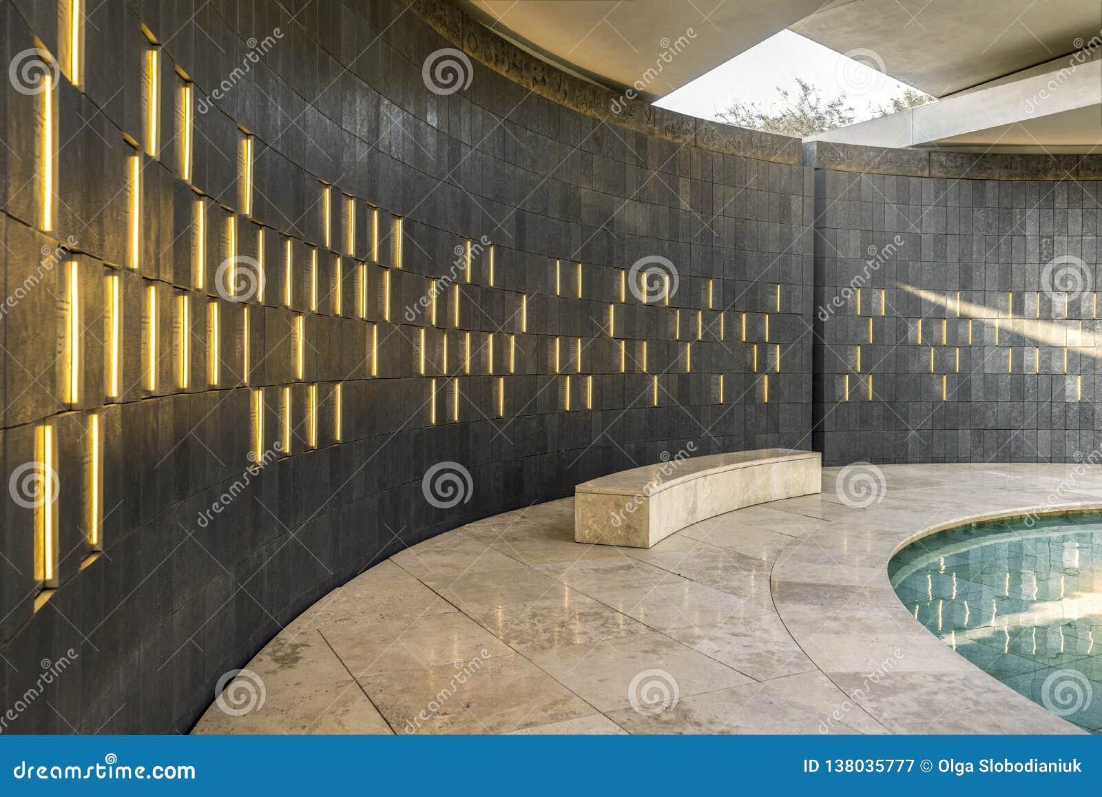 Wahat Al Karama - Pavillion da honra, interior, Abu Dhabi, outubro 2018
