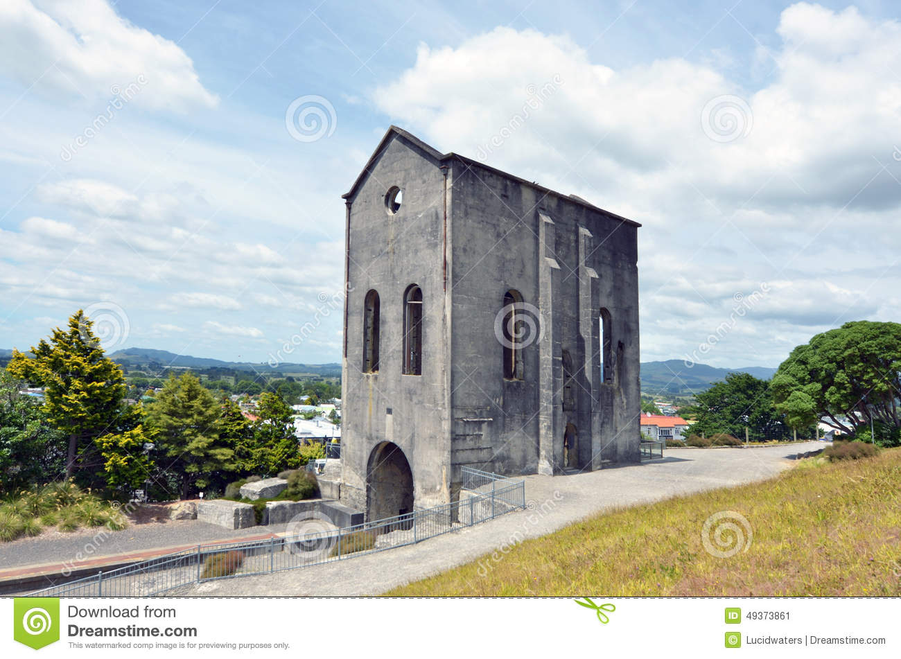 Waihi New Zealand  City new picture : WAIHI, NZL JAN 19 2015:Cornish Pumphouse in Waihi gold mine.The pump ...