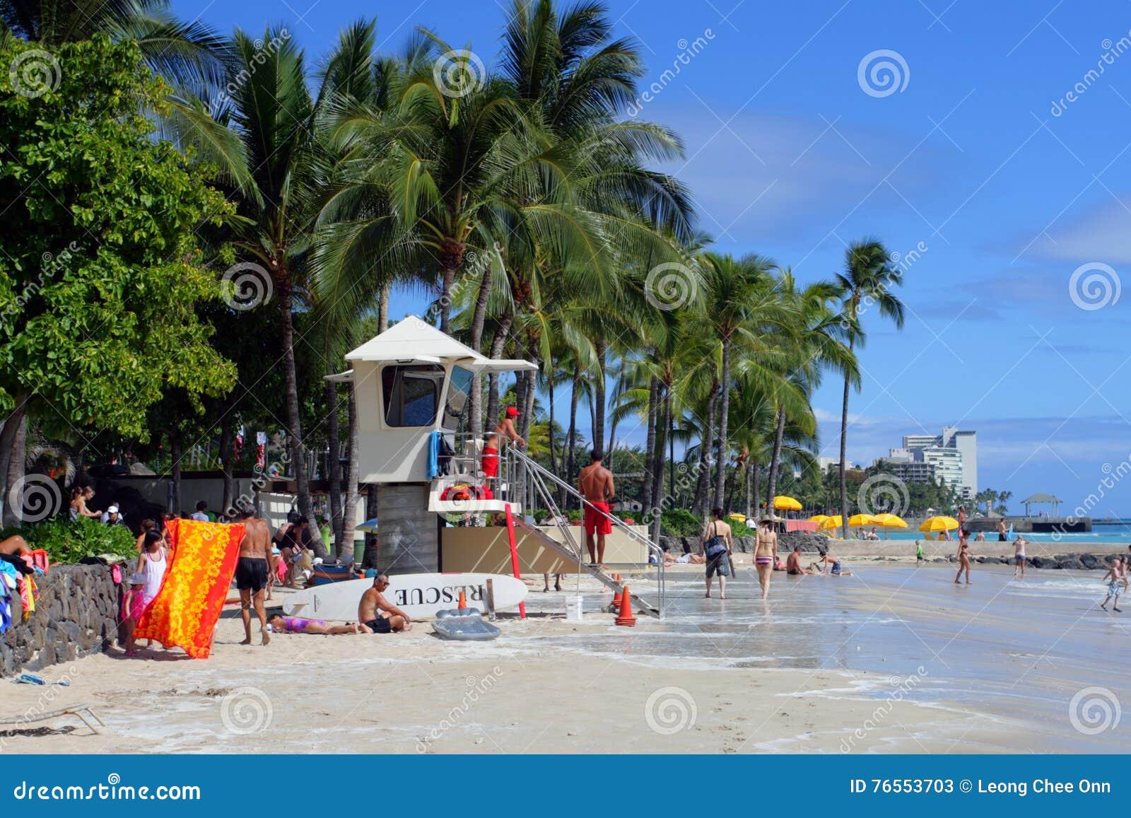 Waikiki Гавайских островов honolulu oahu пляжа