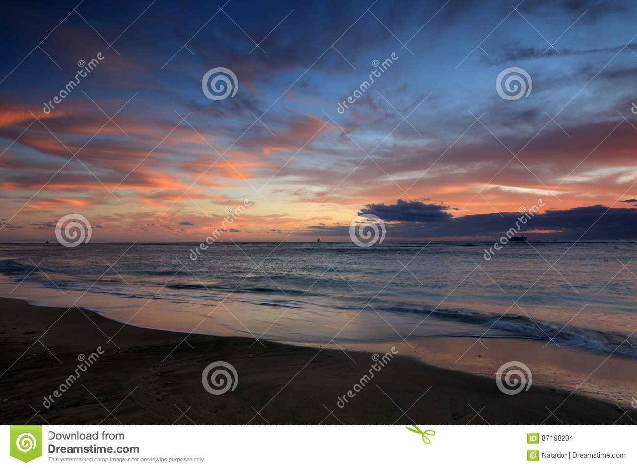 Waikiki Beach Sunset Oahu Hawaii Stock Photo Image Of
