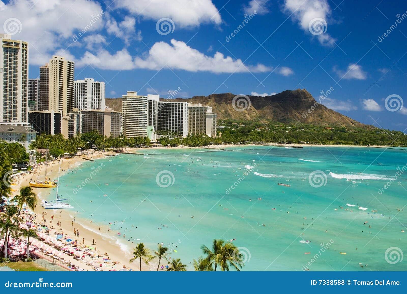 Waikiki d Hawaï Oahu de plage