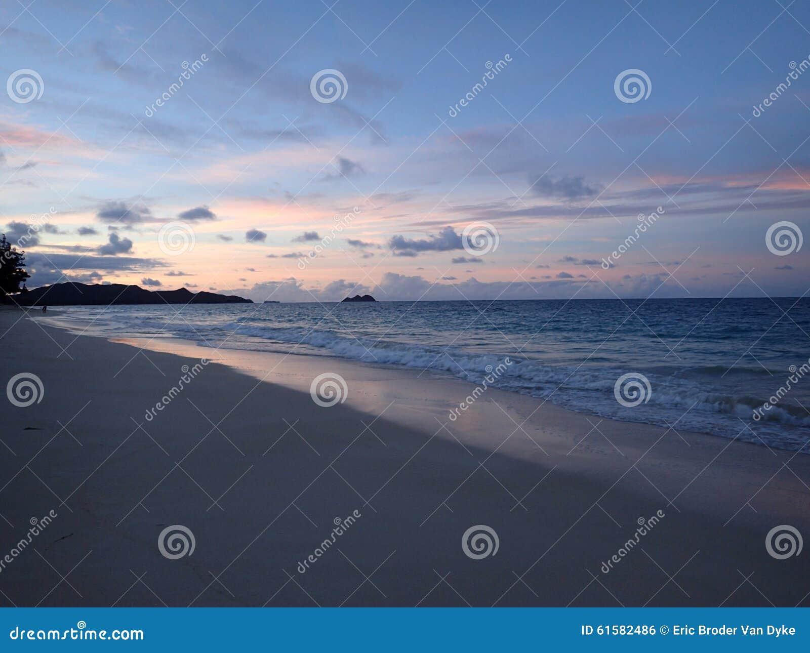 Waimanalo Beach looking towards Mokulua islands at dusk