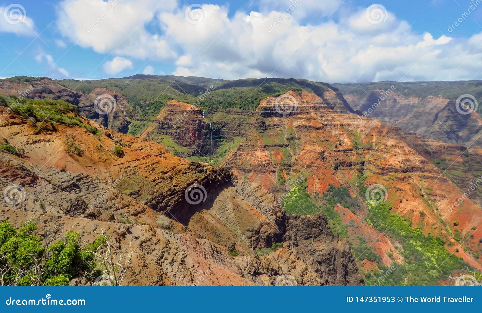 Waipoo Falls lookout at Waimea Canyon, aka the Grand Canyon of the Pacific, Kauai, Hawaii, USA