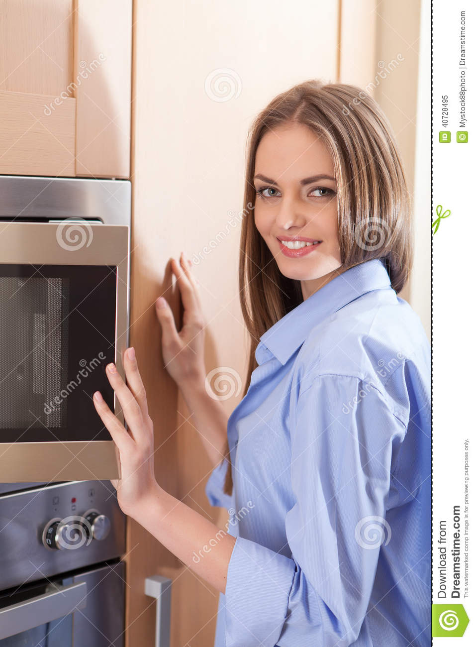 Waist Up Of Beautiful Woman Open Microwave. Stock Photo ...