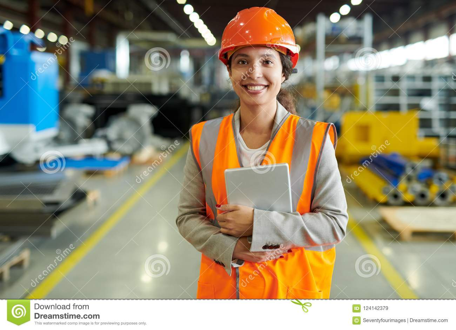 Cheerful Factory Worker Posing
