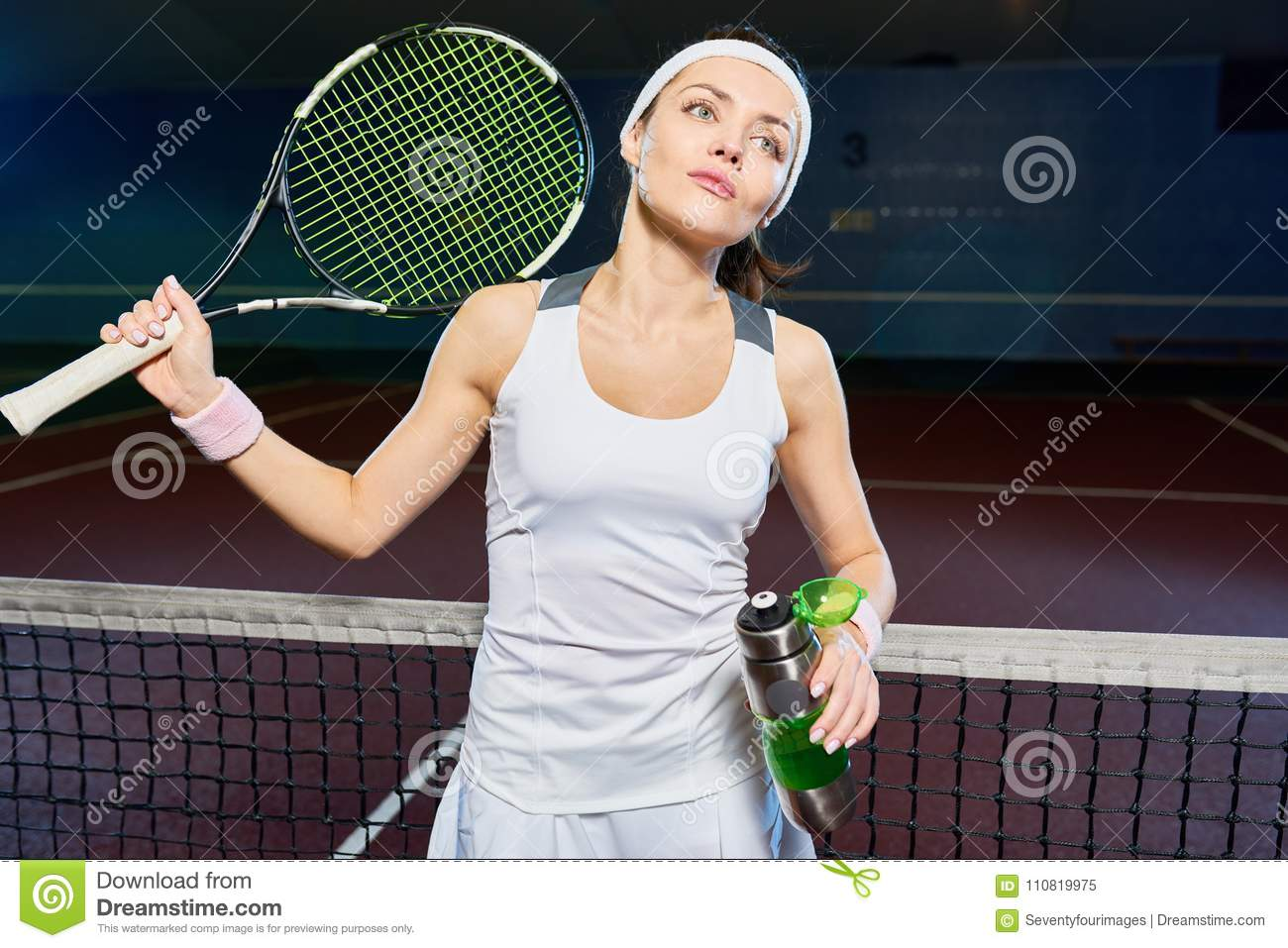 Professional Tennis Player In Court Stock Image Image Of Court