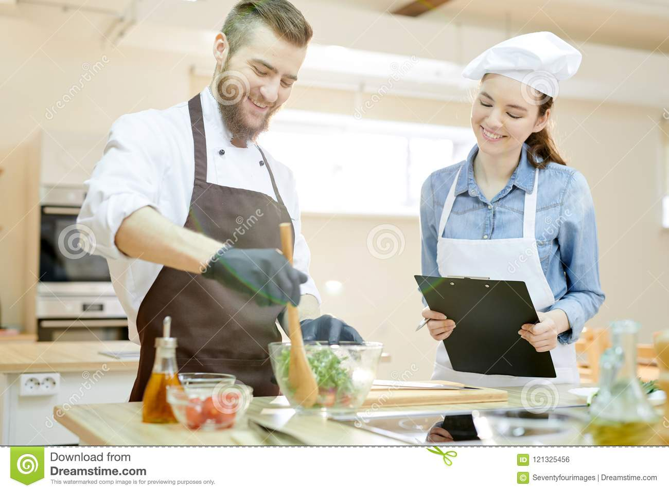 Smiling Chef Working In Restaurant Stock Photo Image Of Cook Apron 121325456