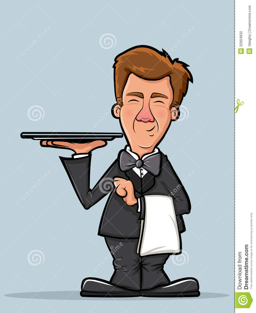 Waiter Or Butler Cartoon Stock Photography - Image: 32904832 Empty Food Tray Clipart