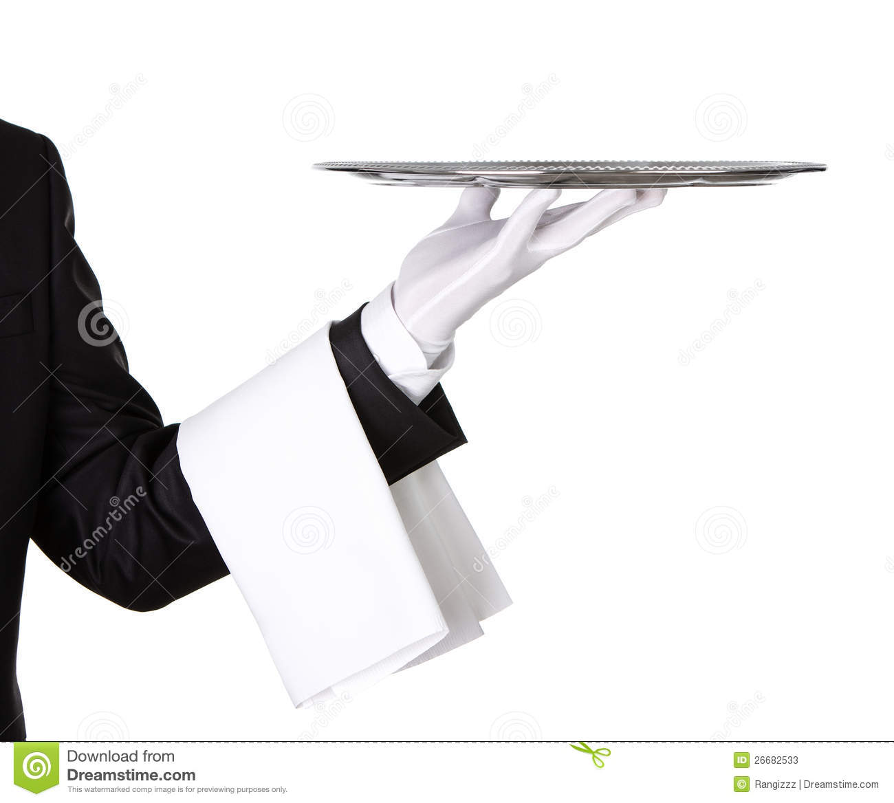 Waiter With Empty Silver Tray Stock Image Image 26682533
