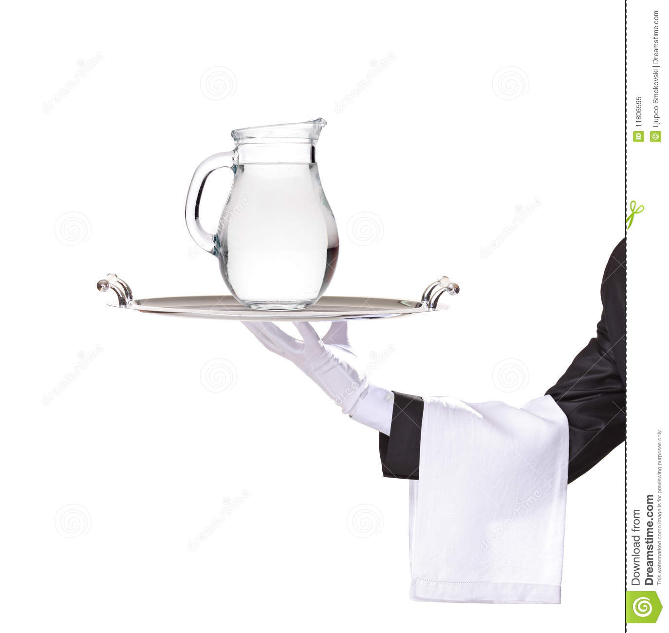 Waiter Holding A Silver Tray With A Pitcher Royalty Free