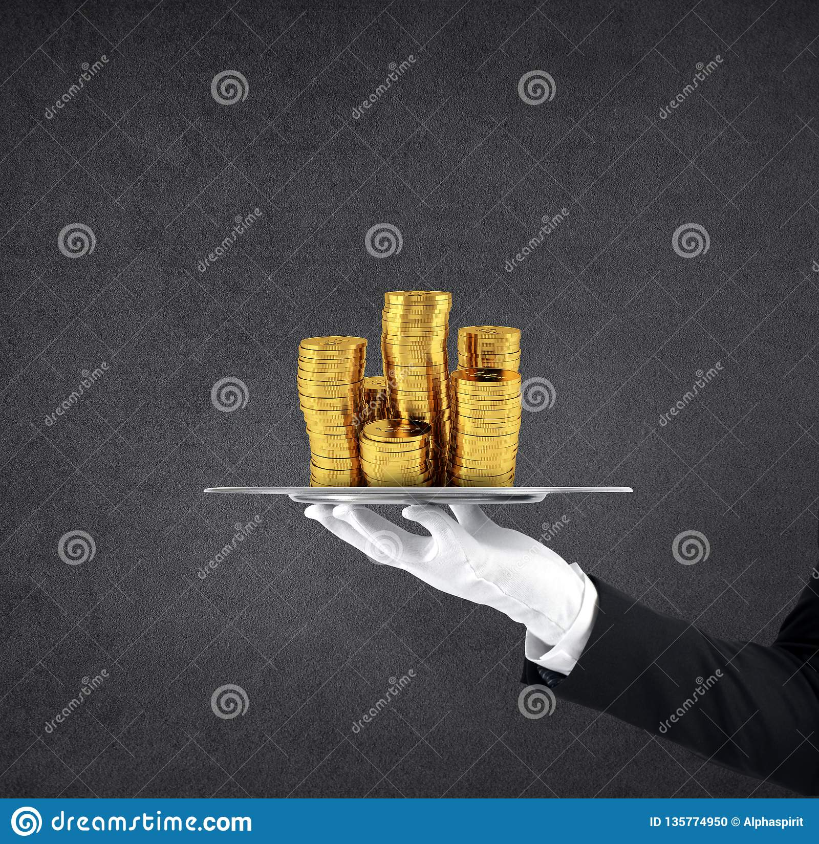 Waiter that holds a tray with golden coins. Concept of first class service on soccer