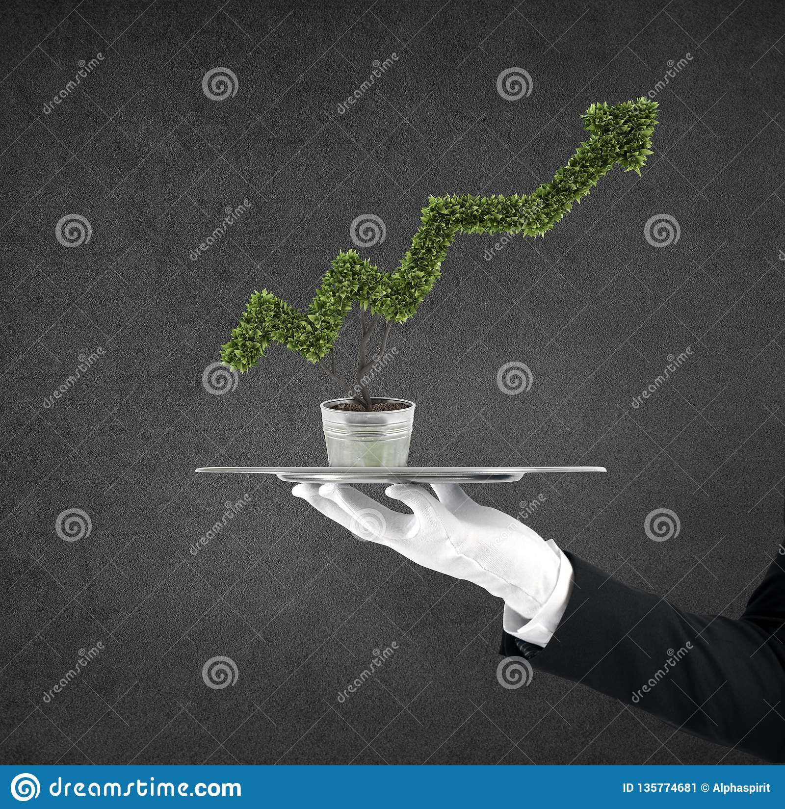Waiter that holds a tray with a plant shaped as statistic arrow. Concept business success